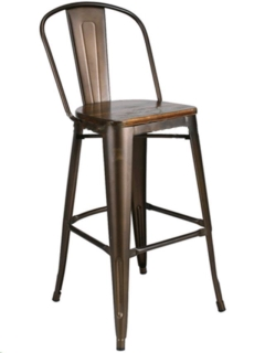 Rental store for RUSTIC METAL BARSTOOL WITH BACK in Portland OR